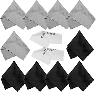 Eco-Fused Microfiber Cleaning Cloths - 12 Pack - for Cleaning Glasses, Spectacles, Camera Lenses, iPad, Tablets, Phones, i...