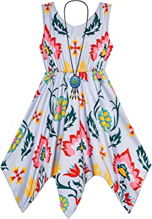 Sunny Fashion Girls Dress Flower Print Hanky Hem with Necklace Size 7-14 Years