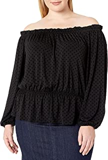 City Chic Women's Apparel Women's Plus Size Bardot Ruffle top with Elasticated Waist