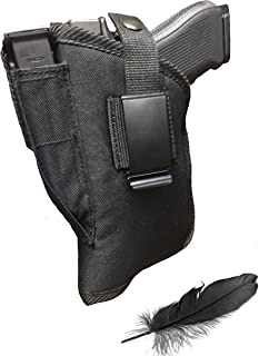 Feather Lite Fits Smith and Wesson 5903,5904,5906,5926,5943,5944,5946,5967 with Laser. Soft Nylon Inside or Outside The Pants Gun Holster.
