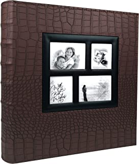 RECUTMS Photo Album 4x6 500 Pockets Black Pages Large Capacity Leather Cover Wedding Family Anniversary Photo Albums (Brown, 500 Pocket)