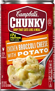 Campbell's Chunky Chicken Broccoli Cheese with Potato Soup, 18.8 oz. Can (Pack of 12)
