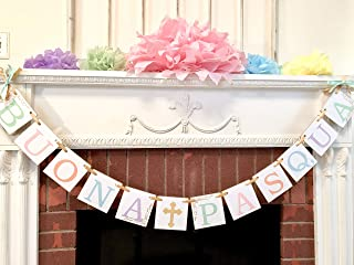 Italian Happy Easter Banner, Buona Pasqua Banner, Easter Decorations, Religious Easter Bunting, Easter Home Decorations, Easter Sign