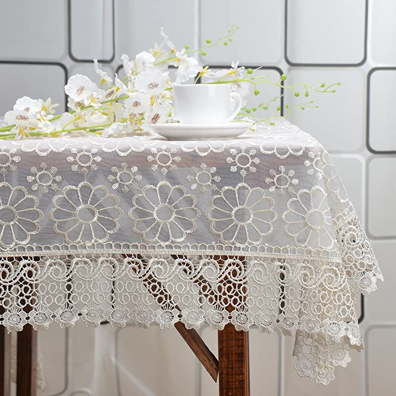 FashionMall Floral Lace Tablecloth Embroidery 52 X 70 Various Size Table Cover 59 By 86 Inch 150x220cm