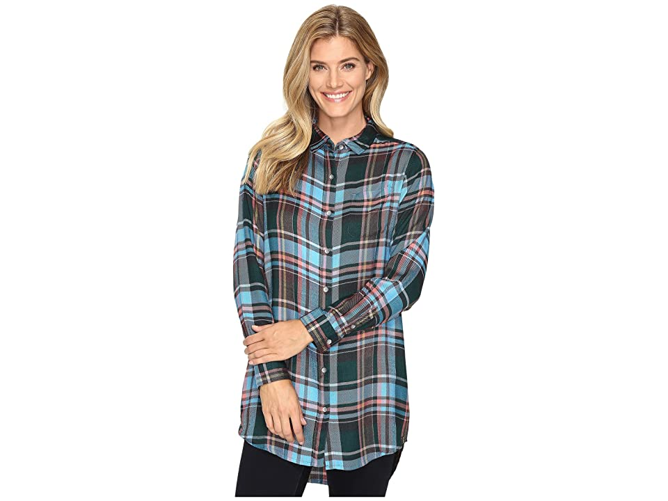 Jag Jeans Magnolia Tunic in Yarn-Dye Rayon Plaid (Turquoise Plaid) Women