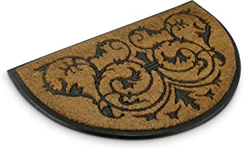 Relaxdays Semi-Circular Coir Doormat 100 x 60 cm w/ Anti-Slip Rubber Underside Welcome Mat, Brown