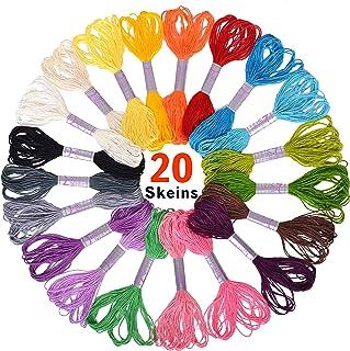 Paquete 20 Madejas de Hilo para Bordar Premium, Pulseras de la Amistad, Kit De punto de Cruz, Arte de Cuerdas - Excelente para Coser y Puntadas de Aguja, Trabajos de Acentuación