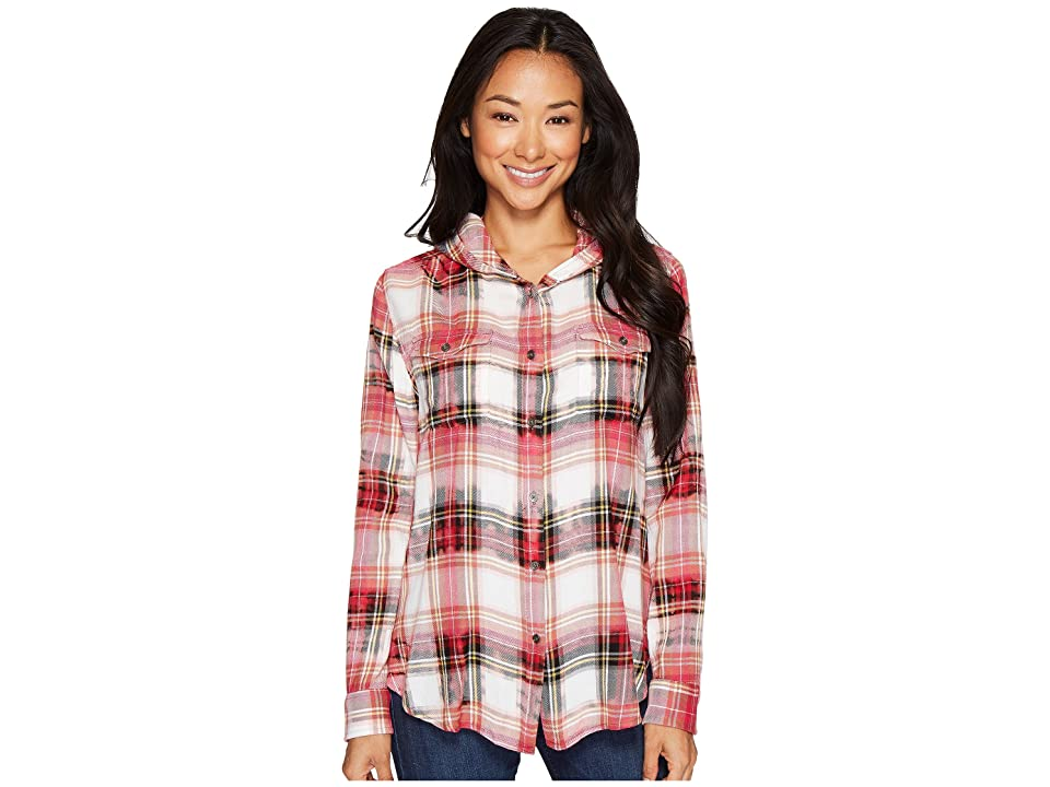 Jag Jeans Shandie Hoodie in Yard Dye Cotton Rayon Plaid (Red Tartan Plaid) Women