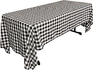 "LA Linen Rectangular Checkered Tablecloth, Black and White, 60"" x 126"""