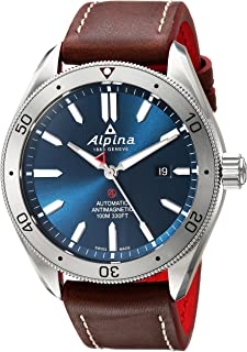 Alpina Men's Alpiner 4 Stainless Steel Automatic-self-Wind Watch with Leather Strap, Brown, 22 (Model: AL-525NS5AQ6)