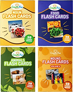 CreateFun Noun Flash Cards Vocabulary Bundle - 200 Educational Vocabulary Builder Photo Cards - 5+ Learning Games for Toddlers, Preschool Teachers, Speech Therapy Materials & ESL Teaching Materials