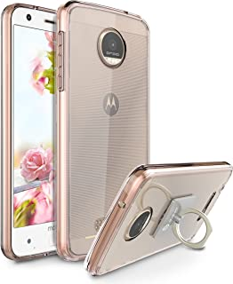 Moto Z Force Case, Moto Z Force Droid Case, Style4U Scratch Resistant Shock Absorbent Slim Transparent Clear Back TPU Bumper Case for Motorola Moto Z Force with 1 Ring Holder Kickstand (Rose Gold)