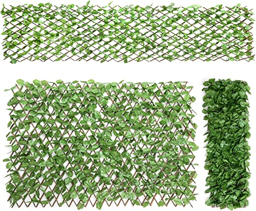Giantex 3PCS Expandable Artificial Hedges Faux Ivy Leaves Fence, Stretchable Artificial Ivy Privacy Fence Screen Decorative Trellis for Backdrop Outdoor Garden Porch Patio Home Decorations
