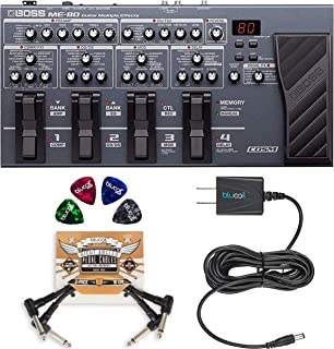 BOSS ME-80 Multi-Effects Pedal for Acoustic and Electric Guitars Bundle with Blucoil Slim 9V Power Supply AC Adapter, 2-Pa...