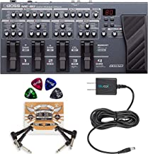 BOSS ME-80 Multi-Effects Processor with Expression Pedal and 8 Footswitches Bundle with Blucoil Slim 9V Power Supply AC Adapter, 2-Pack of Pedal Patch Cables, and 4-Pack of Celluloid Guitar Picks