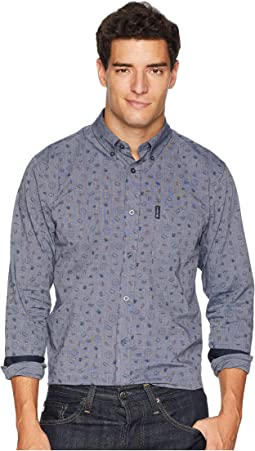 Long Sleeve Clock Time Print Shirt
