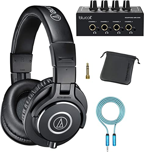Audio-Technica ATH-M40x Professional Studio Monitor Headphones with Cutting Edge Engineering, 90 Degree Swiveling Earcups Bundle with Blucoil 4-Channel Headphone Amplifier and 6' 3.5mm Extension Cable
