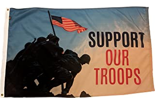 FlagSource Support Our Troops Nylon Decorative Flag, Made in The USA, 3x5'