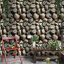 Wolpin Wall Stickers Wallpaper Decals Self Adhesive (45 x 500 cm) 3D Stone DIY, Stone Color