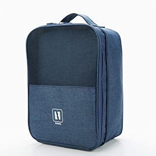 ZEON Travel Shoe Bag Case - Portable Pouch Zip Bag - New Design, High Quality, Outdoor, Tote (Navy/Dark Blue)
