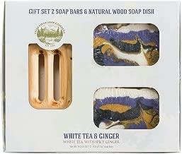 صابونة برائحة الشاي الأبيض والزنجبيل - لوح عشبي عضوي مصنوع يدويًا مع زيوت عطرية علاجية.صابون طبيعي مرطب للبشرة والوجه.بزبدة الشيا وزيت جوز الهند. GIFT SET