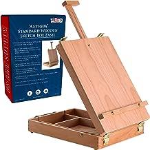 U.S. Art Supply Antigua Adjustable Wood Table Sketchbox Easel, Premium Beechwood - Portable Wooden Artist Desktop Storage Case - Store Art Paint, Markers, Sketch Pad - Box for Drawing, Painting