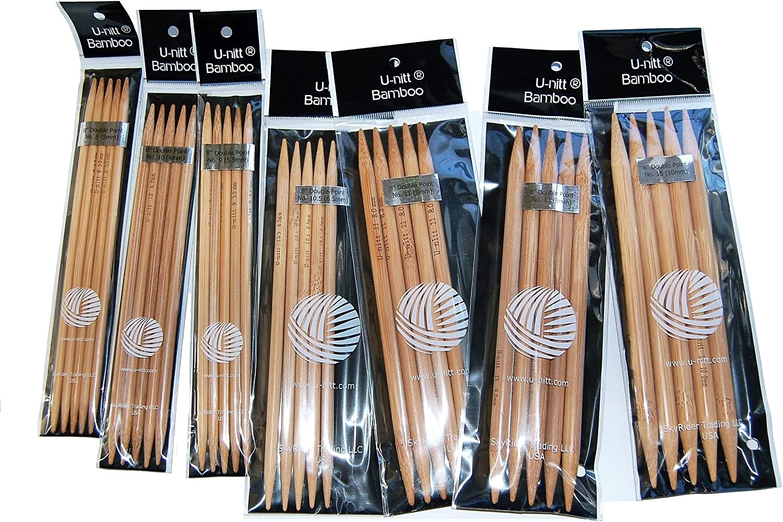 Popular brand U-nitt Bamboo Knitting Needles Double Point Sz inch 10 9 7