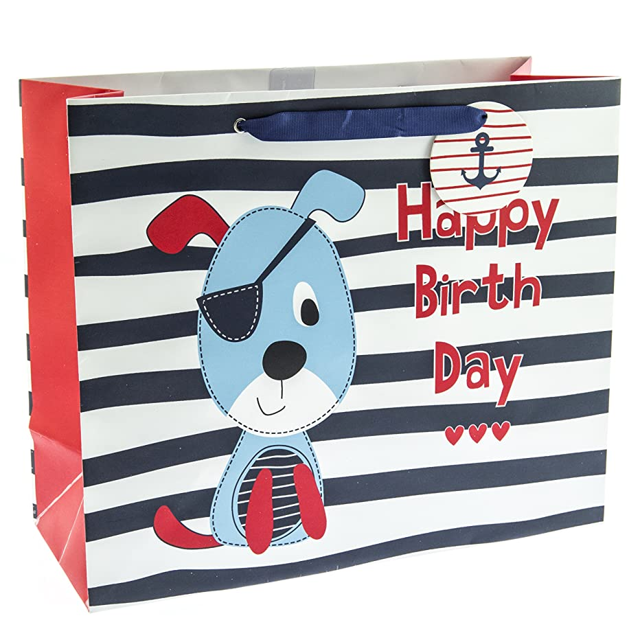 Graphique Nautical Dog Large Gift Bag - Cute Eye-Patch Dog on Black and White Striped Pattern and