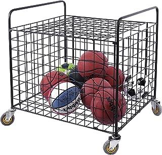 MyGift Metal Rolling Multi Sports Ball Storage Hopper & Basketball,  Football,  Soccer Equipment Cart