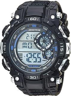 ساعة رقمية كرونوجراف من ارمترون بتصميم رياضي للرجال، طراز 40/8397YLW، مزودة بسوار