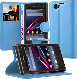 Cadorabo Book Case Works with Sony Xperia Z1 Compact in Sky Blue – with Magnetic Closure, Stand Function and Card Slot – Wallet Etui Cover Pouch PU Leather Flip