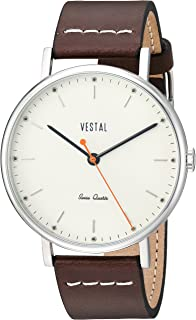 Vestal 'Sophisticate' Swiss Quartz Stainless Steel and Leather Dress Watch, Color:Brown (Model: SP42L08.DBWH)