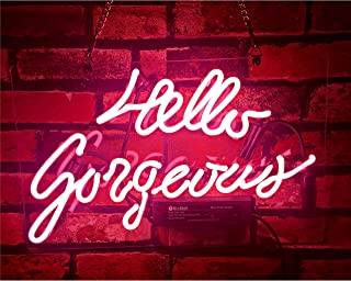 Gritcol Pink Hello Gorgeous Neon Sign Man Cave Room Decor Night Light Love Gifts Real Glass Hand Made 14