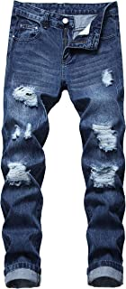 QIMYUM Men's Ripped Jeans Slim Straight Leg Distressed Destroyed Pant with Holes