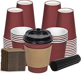 Savourio Coffee Cups with Lids – 12 Oz Disposable Coffee Cups 100 Pack Paper Cups with Stirring Straws, Lids, Sleeves, Hot Coffee Container – Red Short Tea Cup to Go – Leakproof Paper Sleeves Cups