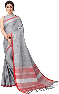 PerfectBlue Linen with blouse piece Saree (LinenBorderVariation_ Grey_ free)
