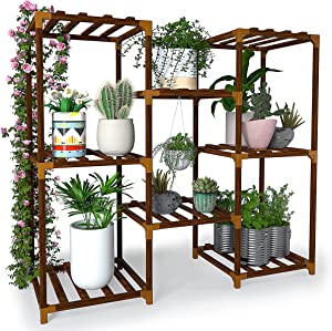 New England Stories Plant Stand, 3 Tier 8 Potted Wood Multiple Stand Shelf, Garden Plant Holder Rack for Patio Garden, Corner Balcony, Living Room and Bedroom with 3 Free Gardening Tools