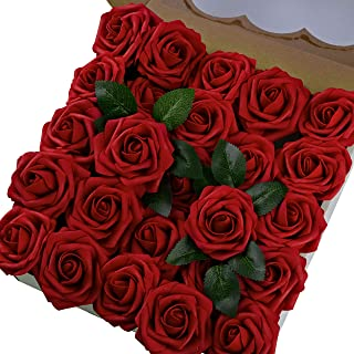 Breeze Talk Artificial Flowers Dark Red Roses 50pcs Realistic Fake Roses w/Stem for DIY Wedding Bouquets Centerpieces Arrangements Party Baby Shower Home Decorations (50pcs Dark Red)