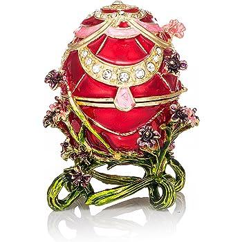 QIFU hand Painted /Œuf Faberg/é Style d/écoratif /à charni/ère Bijoux Bo/îte /à bijoux Cadeau unique pour la d/écoration de la maison