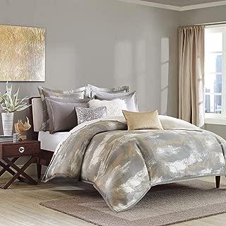 Madison Park Signature Graphix King Size Bed Comforter Duvet 2-In-1 Set Bed In A Bag - Grey, Silver , Metallic, Jacquard – 9 Piece Bedding Sets – Ultra Soft Microfiber Bedroom Comforters