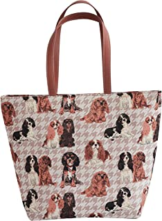 Dog Design Women's Tapestry Shoulder Tote Handbag with Labrador Westie and King Charles Spaniel