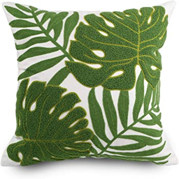 Hodeco Decorative Throw Pillow Covers Green Leaves Embroidery Floor Pillow Cover for Couch 100% Cotton Cushion Cover Pillow Case Green Plant Monstera Leaf Loop Embroidered 18x18 Inches, 1 Piece