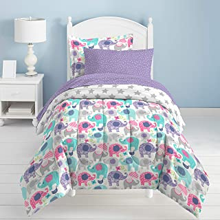 dream FACTORY Elley Elephant Comforter Set, Twin, Purple