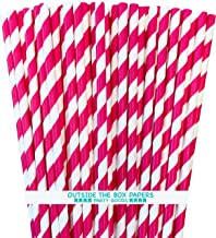 Paper Straws - Hot Pink White - Striped - 100 Pack - Outside the Box Papers Brand