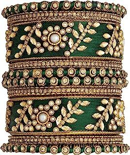 Aheli Traditional Wedding Designer Silk Thread Faux Stone Studded Bridal Bangle Set Chuda Indian Ethnic Bollywood Fashion ...