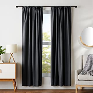 "AmazonBasics Room Darkening Blackout Curtain Set of 2 with Tie Backs - 245 GSM - (7 Feet - Door) 52"" x 84"", Black"