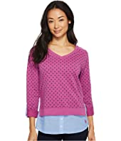 U.S. POLO ASSN. - Polka Dot French Terry and Woven Twofer Top