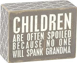 Primitives by Kathy Gray Box Sign, 4-Inch by 3-Inch, Spank Grandma
