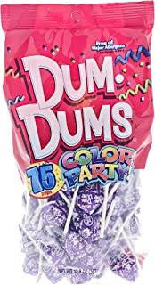 Purple Dum Dums Color Party - Grape Flavored - 75 Count Bag - 12.8 ounces - Includes Free How To Build a Candy Buffet Guide