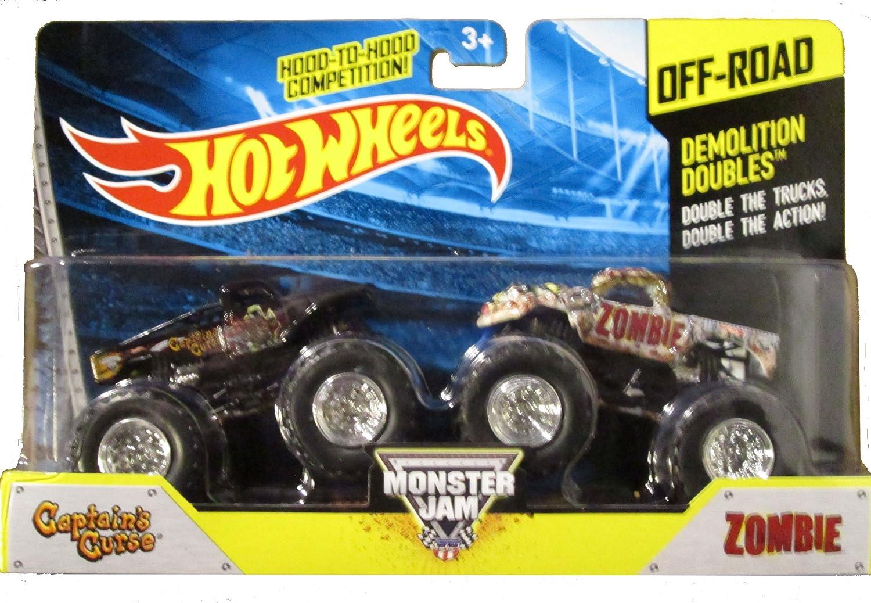 Hot Wheels 2014 OffRoad Monster Jam Demolition Doubles Captain's Curse vs Zombie